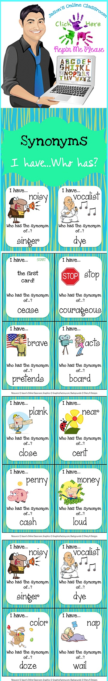 This synonyms card set can be used for small group, centers, morning warm-up, etc. They are intended to help students learn synonyms. There are a total of 44 synonyms word matches/cards included in this resource.