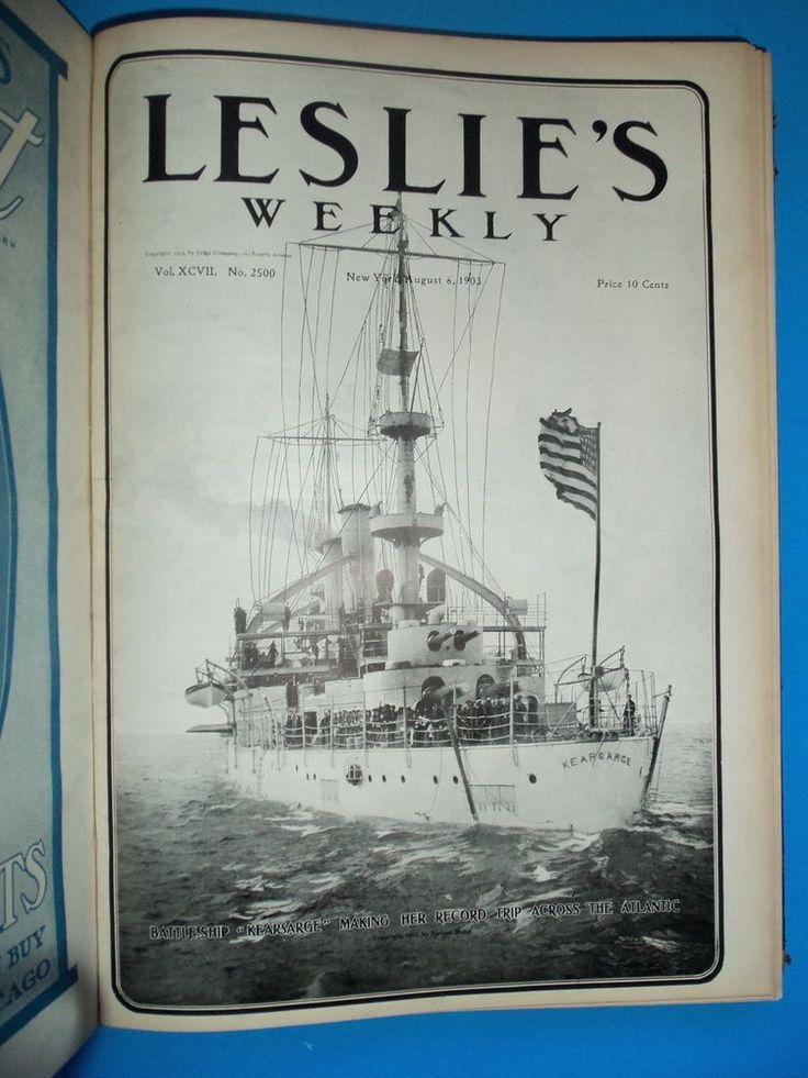 1903 LW Mag Pg Image US Navy Battleship Kearsarge Record Trip Across Atlantic