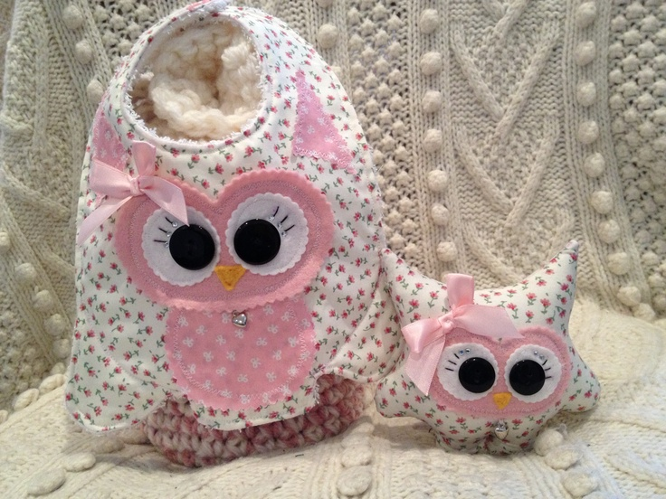 Matching Set of cuteness Little Hootlet and her Bib