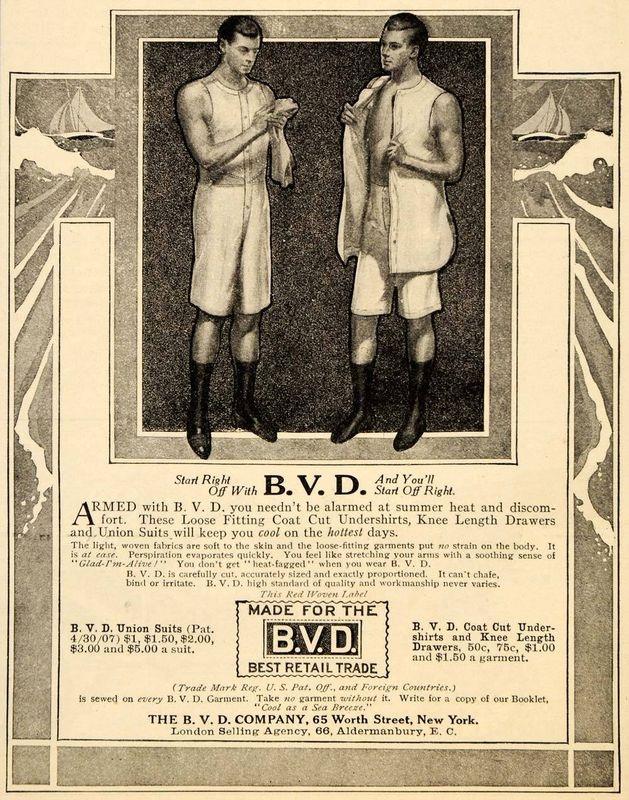 1911 Ad Vintage BVD Underwear Undershirt Drawers