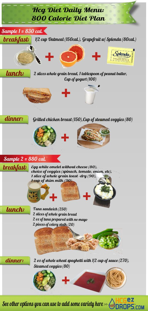 This infographic is showing 2 daily meal plan samples for the 800 calorie diet plan with hcg drops. The 800 calorie diet plan is much more effective according to our returning customers. Learn more about it here: http://hcgezdrops.com/category/800-calorie-diet/