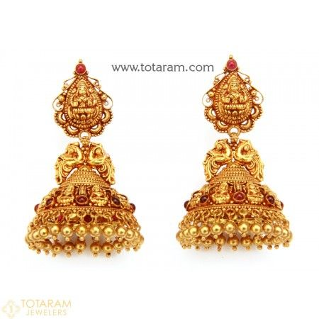 Temple Jewellery - 22K Gold 'Lakshmi' Jhumkas - 22K Gold Dangle Earrings - 235-GJH1525 - Buy this Latest Indian Gold Jewelry Design in 21.700 Grams for a low price of  $1,175.10