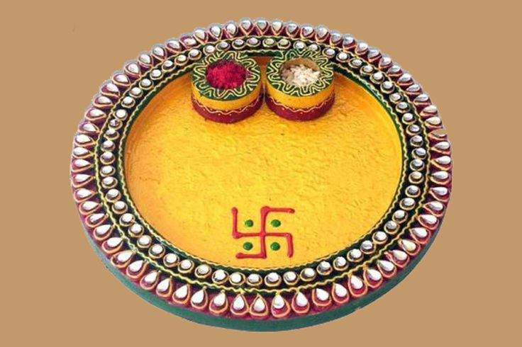 64 best diyas design images on pinterest diwali for Aarti thali decoration with grains