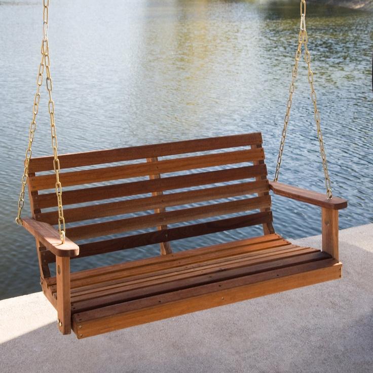 Bay Ridge Wood Porch Swing with Optional Swing Cushion