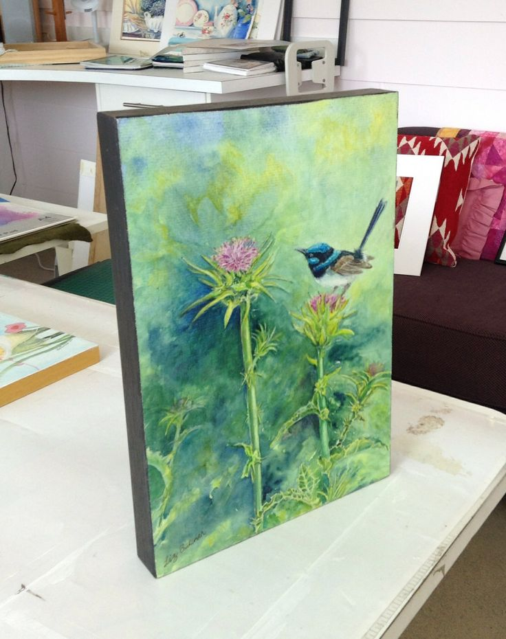 'Blue Wren on Thistle' watercolour by Liz Butcher on Fabriano paper and mounted without glass using Golden products to protect and increase UV resistance.