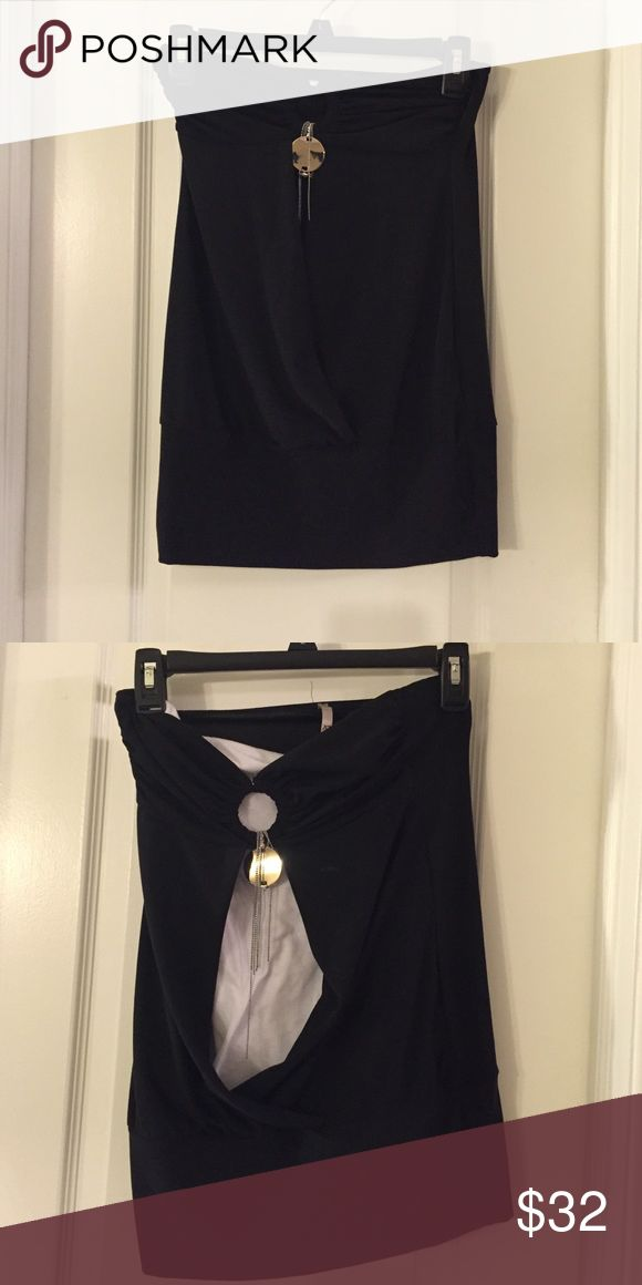 """Party tube top- solid black """"Going out"""" tube top, open from bust to navel. Top is solid black, white is included only to show opening Tops Blouses"""