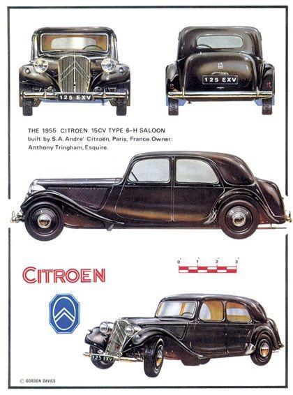 Citroën Traction Avant 15Six-H 1955.   Apparition de la suspension hydraulique à l'arrière.