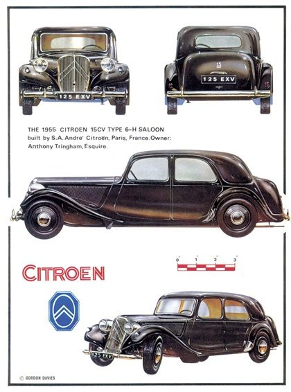 Citroen Traction Avant 15CV Type 6-H Saloon, 1955 - Illustration: Gordon Davies
