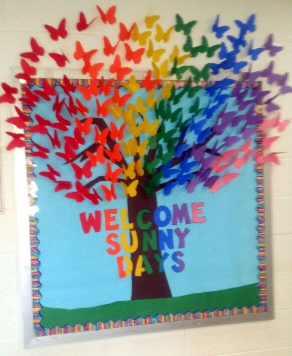 Classroom Welcome Ideas ~ Rainbow butterfies welcome sunny days bulletin board