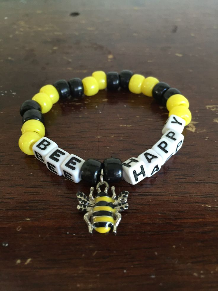 BEE HAPPY // Festival Rave Kandi Bracelet // with Bee Charm by lostANGELESravecave on Etsy https://www.etsy.com/listing/399646761/bee-happy-festival-rave-kandi-bracelet