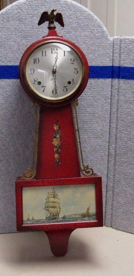 Antique Vintage Sessions Halifax 8 Day Banjo Clock For Parts Or Restoration Clock Antiques Antique Wall Clock