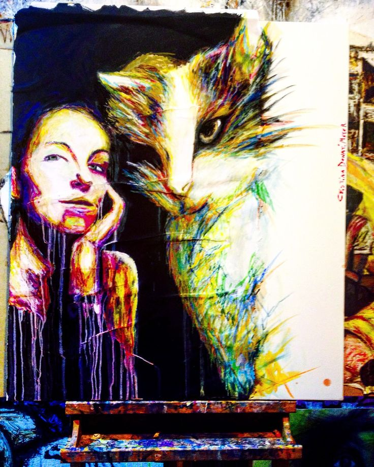 """""""The lady and the cat"""" by Cristina Donati Meyer. This original surreal painting of a woman and her cat is full of colour and comes from Cristina's collection on FineArtSeen. Click to view more art at great prices from the Home Of Original Art. << Pin For Later >>"""