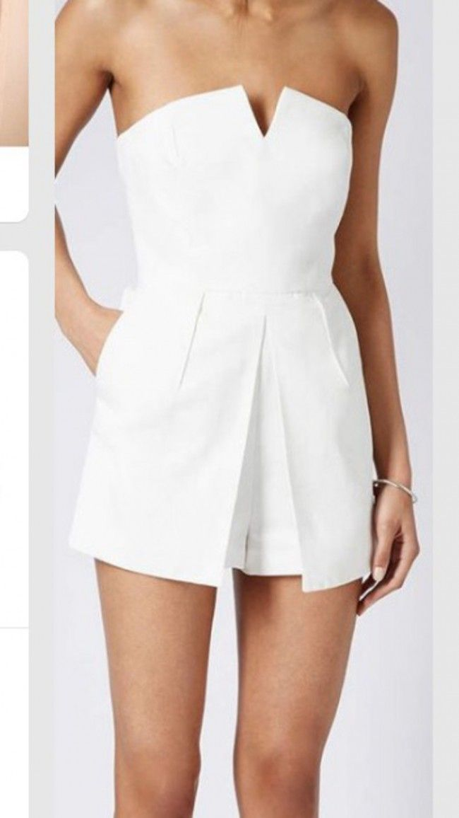 Topshop white textured bandeau skort tailored fashion playsuit jumpsuit