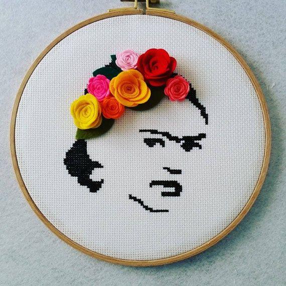 Frida Kahlo, Wall Art, Wall Decor, Frida Kahlo Hoop Art. Home Decor, Cross…