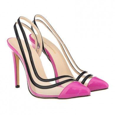 CHANEL TRANSPARENTE ROXO - Chanel de couro com salto de 11cm. Sapatos Importados. Tamanhos 33 ao 40 - Só R$ 310,00!!!