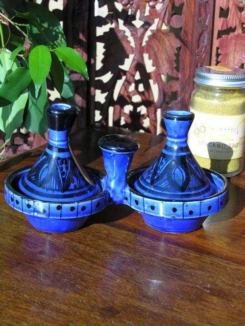 Twin baby Moroccan tagines with traditional blue decoration. http://www.maroque.co.uk/showitem.aspx?id=ENT02840&p=00738&n=all