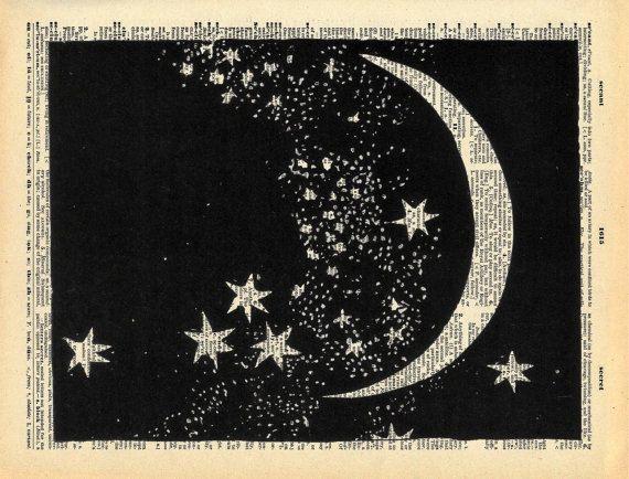 Silhouetten des Nachthimmels mit Halbmond und Sterne sind in alten altmodischen Sepia in dieser Druck gemacht aus einem Papier schneiden und auf einer Seite aus einem Jahrgang Buch gedruckt gefärbt.  ... TITEL... Mond und Sterne * verfügbar als ein Kunst-Druck-hier: http://etsy.me/1hnuPUR * finden Sie weitere Papercut inspirierte Kunst hier: http://etsy.me/Nx5Nv8 * finden Sie weitere Konstellation inspirierte Kunst hier: http://etsy.me/1IuyiQK... Ü...