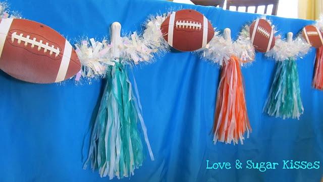 "Football party garland...party theme inspiration ""Quarterbacks + Cheerleaders"""