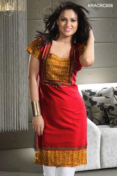 $22 Trendy Red Cotton Kurti from cbazaar
