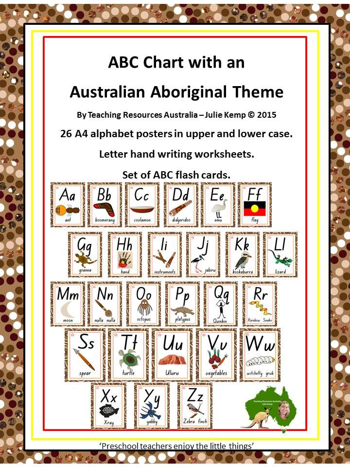 ABC Charts - upper and lower case letters complete with Indigenous symbols / items. 26 posters for $6.00