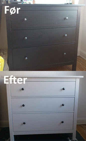 Har malet min kommode.  Da den var laminat, gik jeg i Flügger og købte en grunder, der virker på laminat, hvorefter jeg valgte en halvblank topfarve. Alt i alt for de to produkter 500,- - og så er kun halvdelen brugt :-) Nye billige møbler.