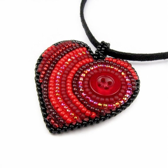 Lovely heart of tiny beads and a red button. By TheCrimsonMoon on Etsy