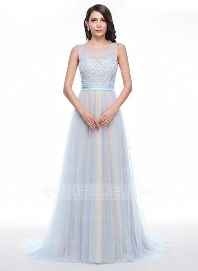 Corte A/Princesa Escote redondo Cola corte Tul Charmeuse Vestido de baile de promoción con Encaje Bordado Lentejuelas (018059411)