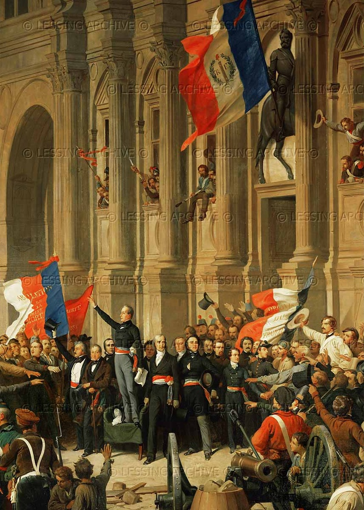 Philippoteaux,Henri Felix.Revolution of 1848: The poet Alphonse de Lamartine rejects the red flag of the extreme left; the blue- white-red Tricolore becomes the national flag of the Second Republic. Oil, 298 x 580 cm