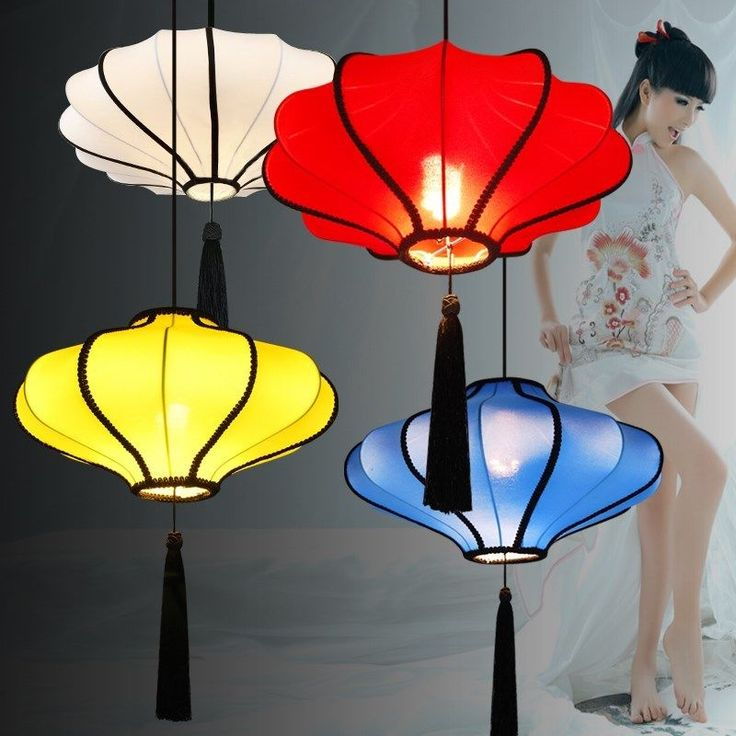 Chinese Elastic Cloth Lantern Pendant Lights Dining Room Ceiling Chandelier Lamp