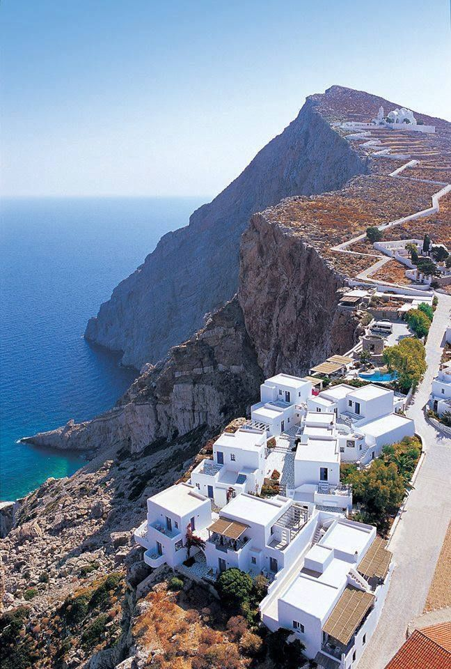 Folegandros is a small Greek island in the Aegean Sea which, together with Sikinos, Ios, Anafi and Santorini, forms the southern part of the Cyclades. Its surface area is about 32 sq. km & it has 765 inhabitants. (via Around the World)