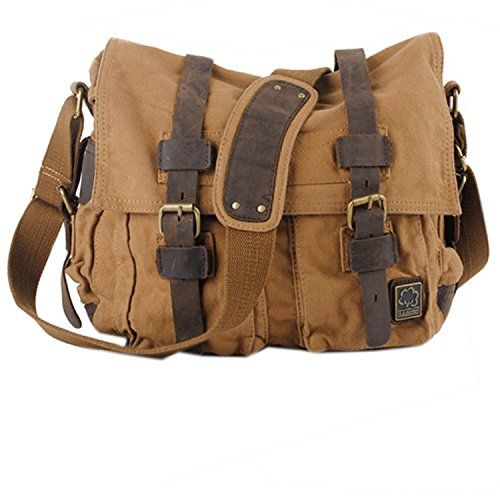 Whatland Leather & Canvas Mens Handbag Messenger Single Shoulder ...