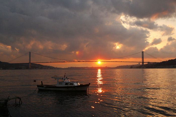 Sunset and Bosphorus, Istanbul, Turkey
