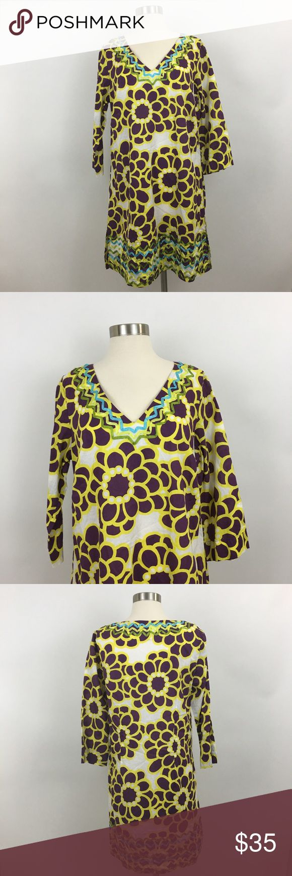 "Boden Womens Tunic Shift Dress US Size 16 Boden Womens Tunic Shift Dress US Size 16 Purple Yellow Embroidered   Measurements taken laying flat.  Bust : 20""  Length : 35""  Sleeve: 18""  Waist : 19"" Boden Dresses Mini"