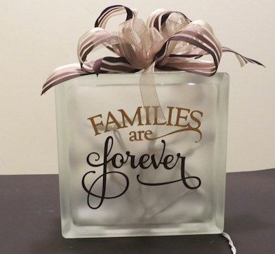 Glass Block  Families Are Forever by PBCreativeDesigns on Etsy, $25.00