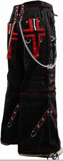 "Tripp NYC ""Gothic Cross"" Bondage Pants (Black/Red)"