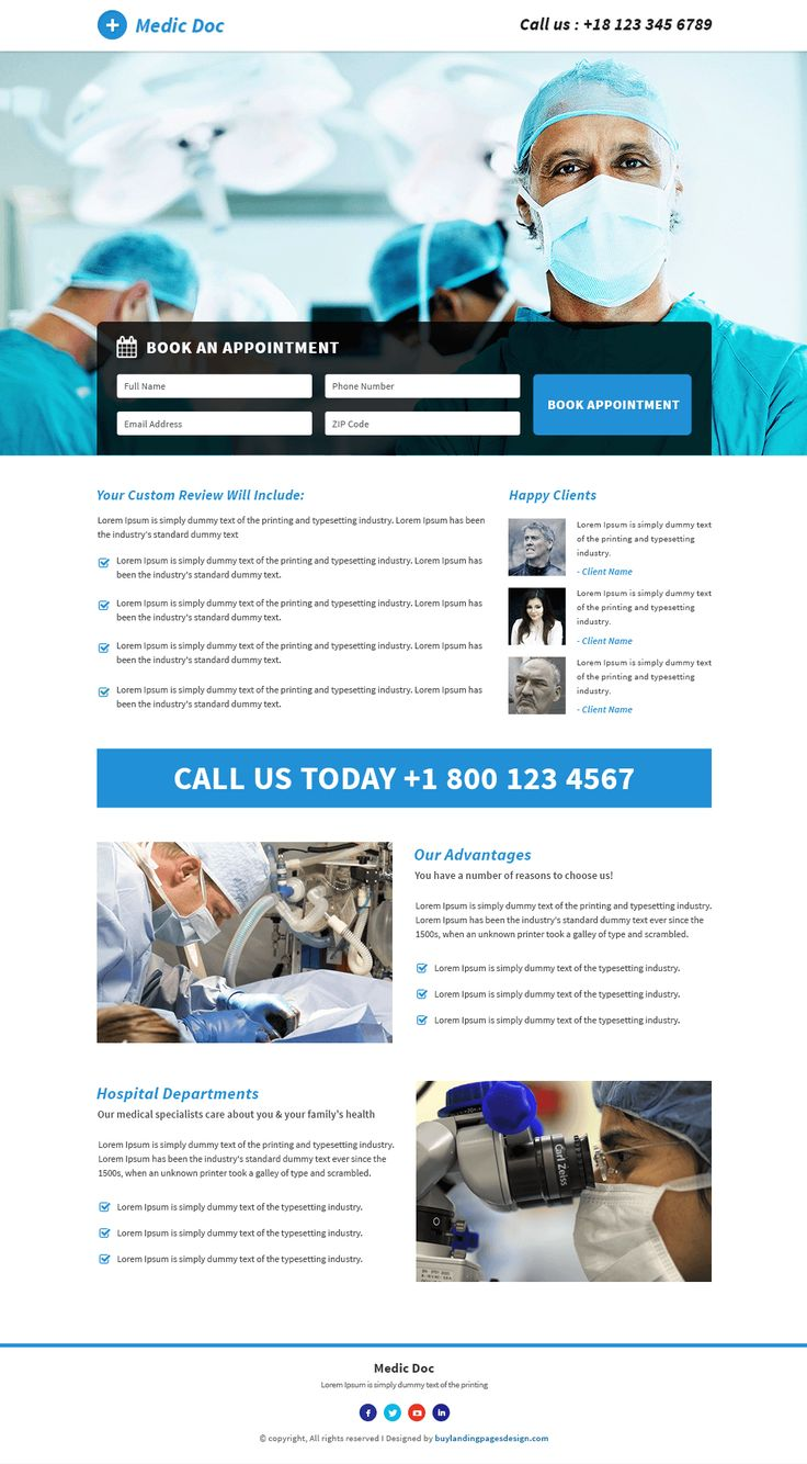 Doctor Medical Service responsive landing page design template