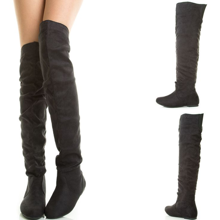 Black Round Toe Stretch Slouchy Over The Knee Thigh High Flat Women Boot  Pull On