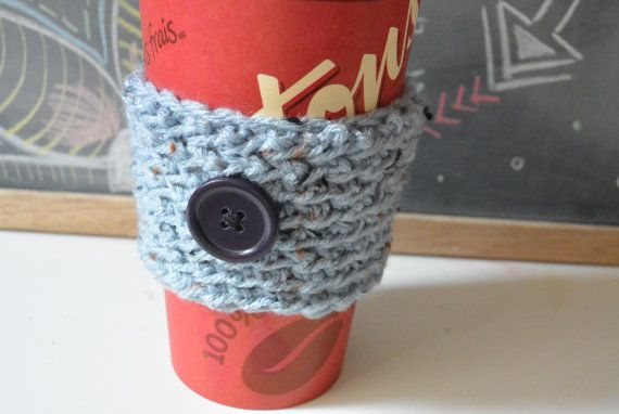 Light Blue Cup Sleeve, Crochet Coffee Cup Sleeve, Mug Cozy With Button
