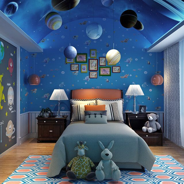 Space themed bedroom bedroom decor remodel ideas for Outer space decor ideas