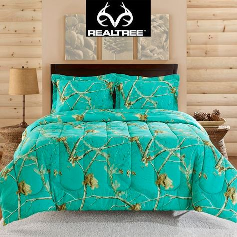 Realtree AP ™ Teal is a NEW Color in the Realtree AP Camo collection! What a fun way to decorate your room with this Realtree Camo Comforter 3-pc Set. #Realtreecamo