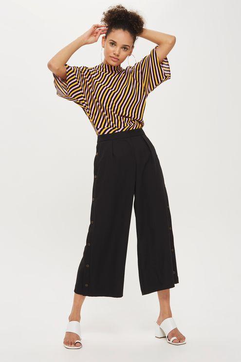 Horn Button Crop Wide Leg Trousers