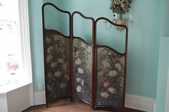 folding screen room divider art nouveau by VintageChicFurniture, $2950.00