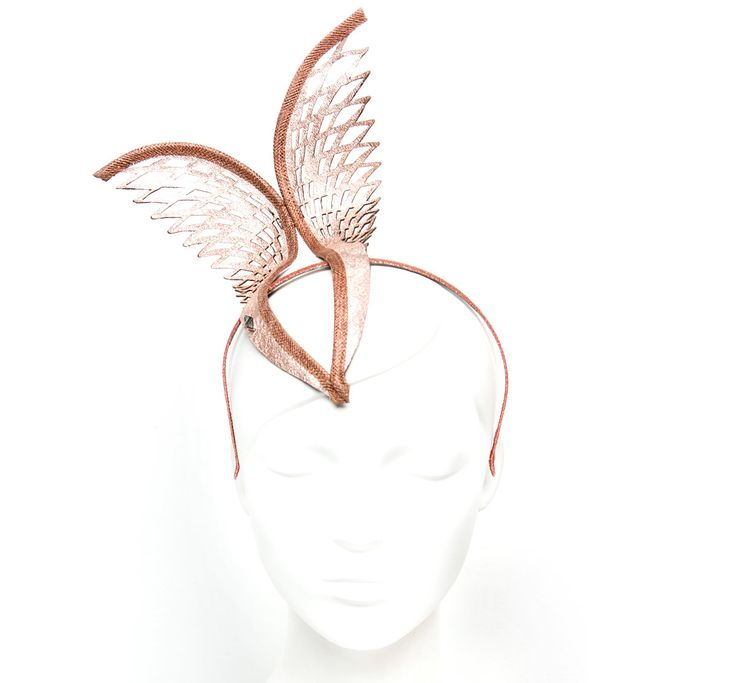 Hera Crown Rose Gold « STUDIO ANISS - Laser cut Leather symmetrical two feather formation fascinator. Offset mount on headband.#studioaniss #allergic2ordinary #melbournecup #melbcup #emiratesmelbournecup #oaksday #crownsday #stakesday #caulfieldcup #crowns #tiara #fascinator #fashion #style #springracing #springfashion #springracingcarnival #headpieces #hairaccessories #aniss #hats #leather #leatheraccessories