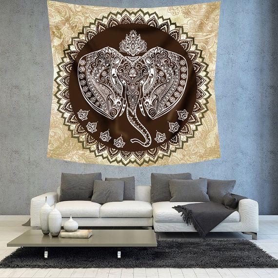 Elefante bohemio tapiz decoración boho hippie decoración de la