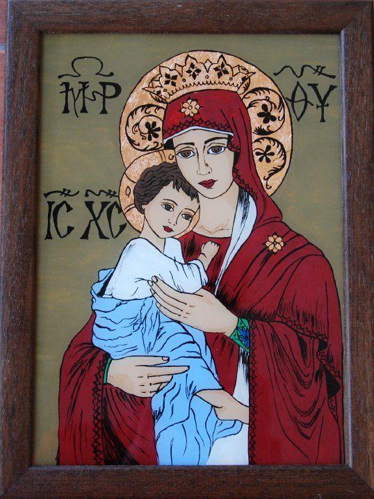 Icoana o reprezinta pe Fecioara Maria si pruncul. Este pictata pe sticla si lucrata manual 100%. http://mirela-moldor.ro/icoane/fecioara-cu-pruncul/