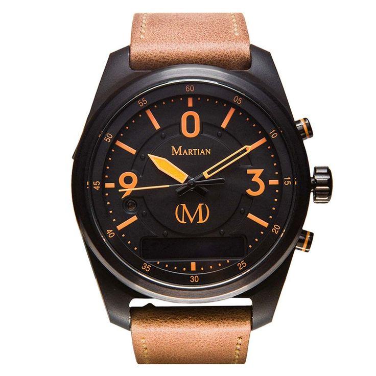 Martian MVR03PL031 Men's PTL02 mVoice Black Ana-Digi Dial Light Brown Leather Strap Smartwatch