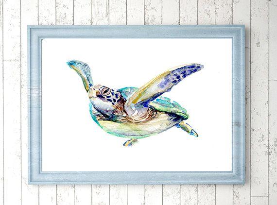 Zeeschildpad Kunst  print  schildpad schilderij  door Zendrawing
