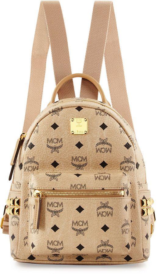 MCM Stark Side Stud Mini Backpack, Beige