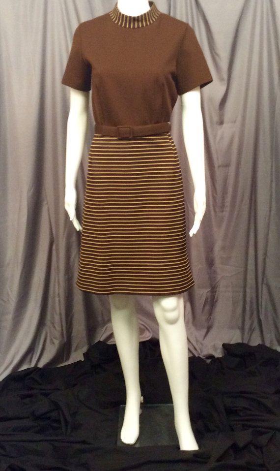 Vestido con cinturón marrón de David cristal moda vintage 1960