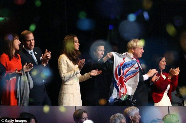 Samantha Cameron, Prince William, Duke of Cambridge and Catherine, Duchess of Cambridge, Princess Anne, London Mayor Boris Johnson and his wife Marina Wheeler applaud the Paralympic GB athletes